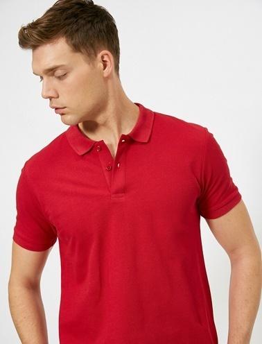 Koton Polo Yaka Kisa Kollu Slim Fit Basic T-Shirt Kırmızı